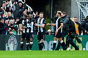 Jetro Willems (#15) of Newcastle United celebrates Newcastle United's first goal (1-1) during the Premier League match between Newcastle United and Manchester City at St. James's Park, Newcastle, England on 30 November 2019.