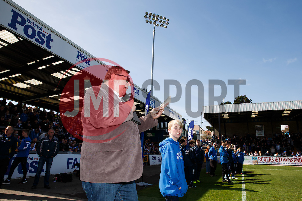 PA Nick Day in action before the match - Photo mandatory by-line: Rogan Thomson/JMP - 07966 386802 - 11/04/2015 - SPORT - FOOTBALL - Bristol, England - Memorial Stadium - Bristol Rovers v Southport - Vanarama Conference Premier.