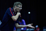 SO Poland athlete Czeslaw Swoboda in action whiletable tennis competition during fifth day of the Special Olympics World Games Los Angeles 2015 on July 29, 2015 at Los Angeles Convention Centre in Los Angeles, USA.<br /> <br /> USA, Los Angeles, July 29, 2015<br /> <br /> Picture also available in RAW (NEF) or TIFF format on special request.<br /> <br /> For editorial use only. Any commercial or promotional use requires permission.<br /> <br /> Adam Nurkiewicz declares that he has no rights to the image of people at the photographs of his authorship.<br /> <br /> Mandatory credit:<br /> Photo by © Adam Nurkiewicz / Mediasport