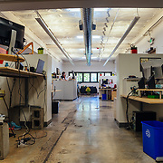 Employee work area inside Santa Cruz bicycles.