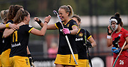 Den Bosch's Maartje Paumen congratulates Pien Sanders for touching in her penalty corner strike during their opening game of the EHCC 2017 at Den Bosch HC, The Netherlands, 2nd June 2017