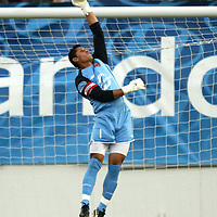 Orlando City Lions Goalkeeper Miguel Gallardo (1) makes a save during a United Soccer League Pro soccer match between the Richmond Kickers and the Orlando City Lions at the Florida Citrus Bowl on May 25, 2011 in Orlando, Florida.  (AP Photo/Alex Menendez)