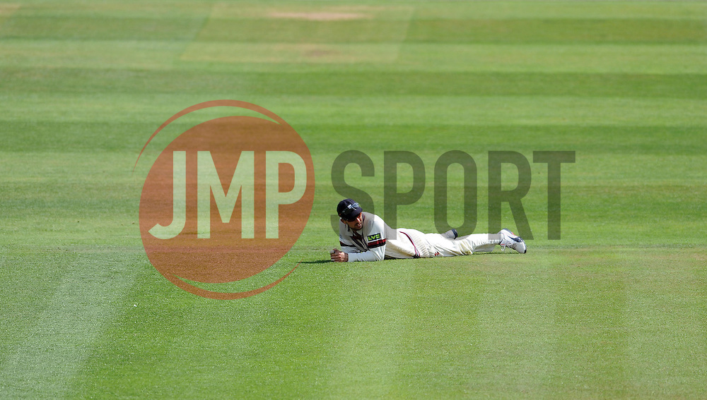 Dejection for Somerset's Tom Cooper - Photo mandatory by-line: Harry Trump/JMP - Mobile: 07966 386802 - 14/06/15 - SPORT - CRICKET - LVCC County Championship - Division One - Day One - Somerset v Nottinghamshire - The County Ground, Taunton, England.