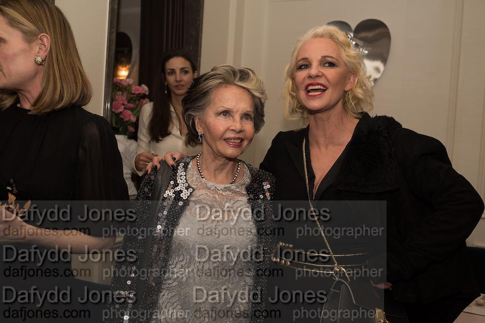 LESLIE CARON; AMANDA ELIASCH, Nicky Haslam hosts dinner at  Gigi's for Leslie Caron. 22 Woodstock St. London. W1C 2AR. 25 March 2015