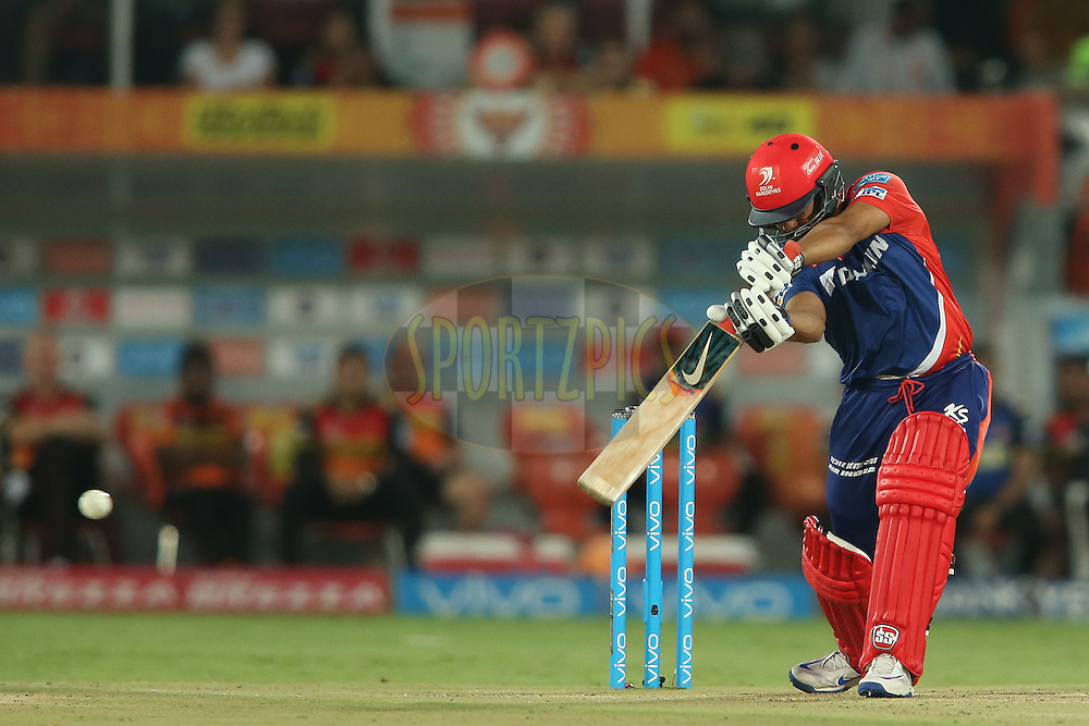 Karun Nair of Delhi Daredevils drives a delivery through the covers to the boundary during match 42 of the Vivo IPL 2016 (Indian Premier League) between the Sunrisers Hyderabad and the Delhi Daredevils held at the Rajiv Gandhi Intl. Cricket Stadium, Hyderabad on the 12th May 2016<br /> <br /> Photo by Shaun Roy / IPL/ SPORTZPICS