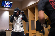 DALLAS, TX - MAY 13:  Jessica Aguilar warms up in the locker room before fighting Cortney Casey during UFC 211 at the American Airlines Center on May 13, 2017 in Dallas, Texas. (Photo by Cooper Neill/Zuffa LLC/Zuffa LLC via Getty Images) *** Local Caption *** Jessica Aguilar