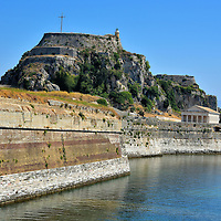 Old Fortress From Garitsa Bay in Corfu, Greece<br />