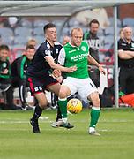 27th August 2017, Dens Park, Dundee, Dundee; Scottish Premier League football, Dundee versus Hibernian; Hibernian's Dylan McGeouch and Dundee's Cammy Kerr battle for the ball