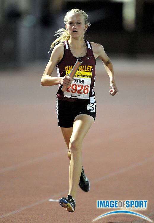 Apr 6, 2012; Arcadia, CA, USA; Sarah Baxter runs the anchor leg on the Simi Valley girls 4 x 1,600m relay that placed second in 20:28.71 in the Arcadia Invitational at Arcadia High.