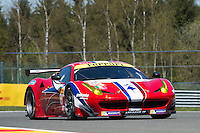 Franc?ois Perrodo (FRA) / Emmanuel Collard (FRA) / Rui Aguas (PRT) #83 AF Corse Ferrari F458 Italia, Free Practice 1  as part of the WEC 6 Hours of Spa-Francorchamps 2016 at Circuit Spa-Francorchamps, Stavelot, Spa-Francorchamps, Belgium . May 05 2016. World Copyright Peter Taylor/PSP. Copy of publication required for printed pictures.  Every used picture is fee-liable. http://archive.petertaylor-photographic.co.uk