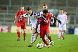 LIVERPOOL, ENGLAND - Tuesday, December 9, 2014: Liverpool's Jerome Sinclair in action against FC Basel's Pedro Pacheco during the UEFA Youth League Group B match at Langtree Park. (Pic by David Rawcliffe/Propaganda)