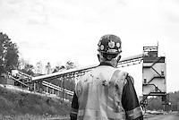 Coal Miner in Southern Ohio at the Buckingham Coal Mine.  Near Corning, Ohio.  Black Diamond