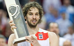 MVP Pau Gasol of Spain celebrates when Team of Spain became the European Champion 2009 at the EuroBasket 2009 after they won at Final match between Spain and Serbia, on September 20, 2009, in Arena Spodek, Katowice, Poland.  Spain won, Serbia placed second, Greece third and Slovenia fourth.  (Photo by Vid Ponikvar / Sportida)