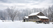Snow covered trees and an old barn during winter, Southwestern Ohio, USA