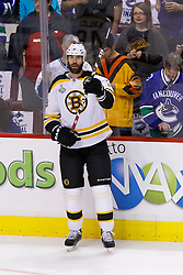 June 4, 2011; Vancouver, BC, CANADA; Boston Bruins defenseman Zdeno Chara (33) warms up before game two of the 2011 Stanley Cup Finals against the Vancouver Canucks at Rogers Arena. Vancouver defeated Boston 3-2 in overtime. Mandatory Credit: Jason O. Watson / US PRESSWIRE