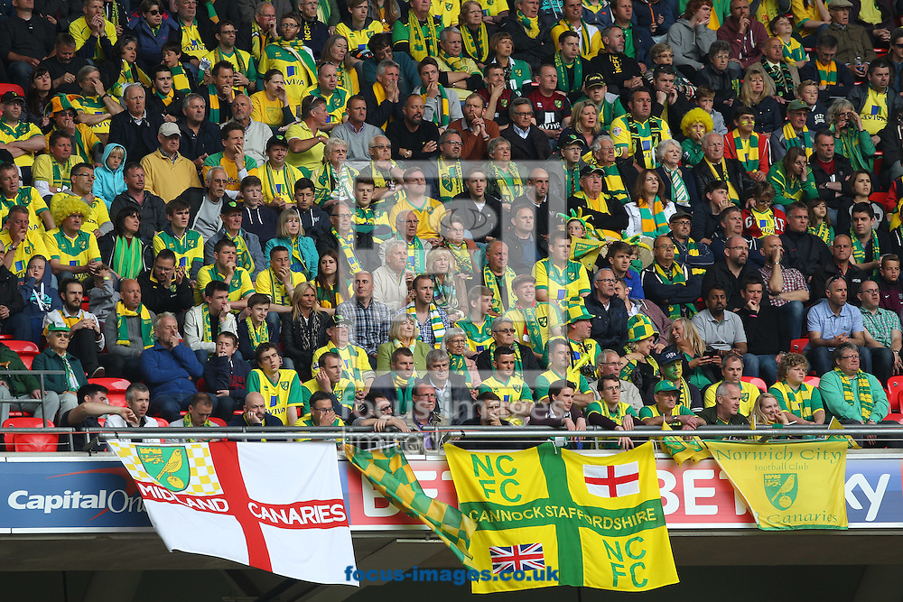 The Norwich fans during the Sky Bet Championship Play-off Final at Wembley Stadium, London<br /> Picture by Paul Chesterton/Focus Images Ltd +44 7904 640267<br /> 25/05/2015