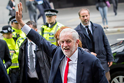 © Licensed to London News Pictures. 09/06/2017. London, UK. Leader of the Labour Party Jeremy Corbyn arrives at Labour Party HQ this morning, following a general election yesterday. Parliament is hung, with no individual party gaining an overall majority. Photo credit : Tom Nicholson/LNP