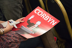 © Licensed to London News Pictures. 6/5/2017. Leicester, UK. Labour Leader JEREMY CORBYN speaking at a rally in Leicester today. Pictured a supporter with a Corbyn poster at the rally. Photo credit : Dave Warren/LNP