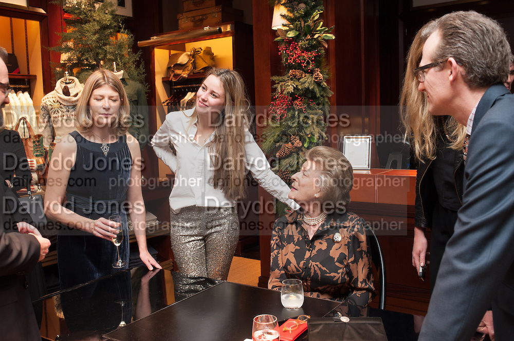 EDWINA HICKS; MADDISON MAY BRUDENELL; ASHLEY HICKS; LADY PAMELA HICKS, , Book launch for ' Daughter of Empire - Life as a Mountbatten' by Lady Pamela Hicks. Ralph Lauren, 1 New Bond St. London. 12 November 2012.