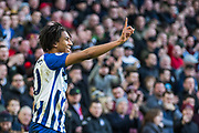Bernardo Fernandes da Silva Junior (Brighton) smiles and gesticulates during the Premier League match between Brighton and Hove Albion and Aston Villa at the American Express Community Stadium, Brighton and Hove, England on 18 January 2020.