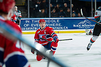 KELOWNA, CANADA - MARCH 13:  Jaret Anderson-Dolan #11 of the Spokane Chiefs celebrates the OT winning goal against the Kelowna Rockets on March 13, 2019 at Prospera Place in Kelowna, British Columbia, Canada.  (Photo by Marissa Baecker/Shoot the Breeze)