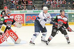 21.11.2014, Lanxess Arena, Köln, GER, DEL, Kölner Haie vs Hamburg Freezers, 19. Runde, im Bild Danny aus den Birken (Koelner Haie), Christoph Schubert (Hamburg Freezers) und Mirko Luedemann (Koelner Haie) (v.l.) // during Germans DEL Icehockey League 19th round match between Kölner Haie vs Hamburg Freezers at the Lanxess Arena in Köln, Germany on 2014/11/21. EXPA Pictures © 2014, PhotoCredit: EXPA/ Eibner-Pressefoto/ Fusswinkel<br /> <br /> *****ATTENTION - OUT of GER*****