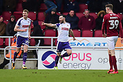 Rotherham United midfielder (on loan from Brighton) Richie Towell (17) scores a goal and celebrates  0-3 during the EFL Sky Bet League 1 match between Northampton Town and Rotherham United at Sixfields Stadium, Northampton, England on 17 March 2018. Picture by Dennis Goodwin.