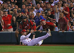 September 27, 2017 - St. Louis, MO, USA - St. Louis Cardinals left fielder Randal Grichuk makes a catch on a foul ball by the Chicago Cubs' Kris Bryant during the sixth inning at Busch Stadium in St. Louis on Wednesday, Sept., 27, 2017. (Credit Image: © Nuccio Dinuzzo/TNS via ZUMA Wire)