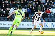 St Mirren forward Simeon Jackson (11) anticipates a challenge from Hibernian defender Darren McGregor (24)  during the Ladbrokes Scottish Premiership match between St Mirren and Hibernian at the Paisley 2021 Stadium, St Mirren, Scotland on 27 January 2019.