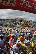 Participants chat at the starting line of Stage 1 - Bogota - Colombia