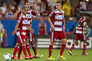 FRISCO, TX - AUGUST 11:  Blas Perez #7 of FC Dallas celebrates after scoring a goal against the Los Angeles Galaxy on August 11, 2013 at FC Dallas Stadium in Frisco, Texas.  (Photo by Cooper Neill/Getty Images) *** Local Caption *** Blas Perez