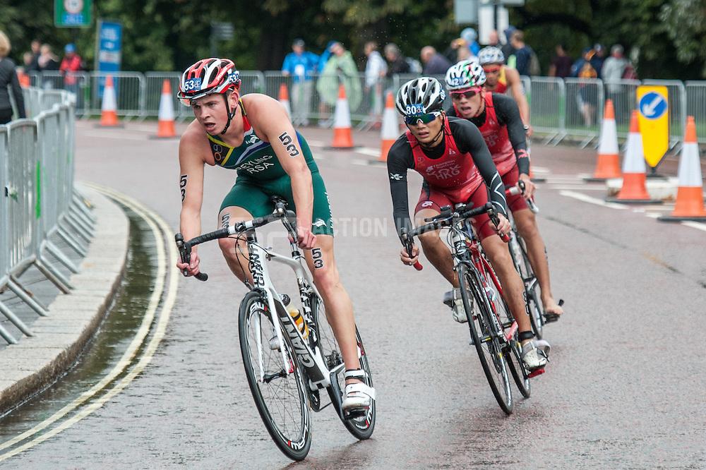 Marc Greyling (RSA), Junior World Triathlon Championships Men, Hyde Park London, UK on 12 September 2013. Photo: Simon Parker