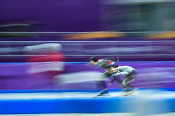 February 23, 2018 - Pyeongchang, Gangwon, South Korea - Tsubasa Hasegawa of  Japan and Konrad Nagy of  Hungary in 1000 meter speedskating at winter olympics, Gangneung South Korea on February 23, 2018. (Credit Image: © Ulrik Pedersen/NurPhoto via ZUMA Press)
