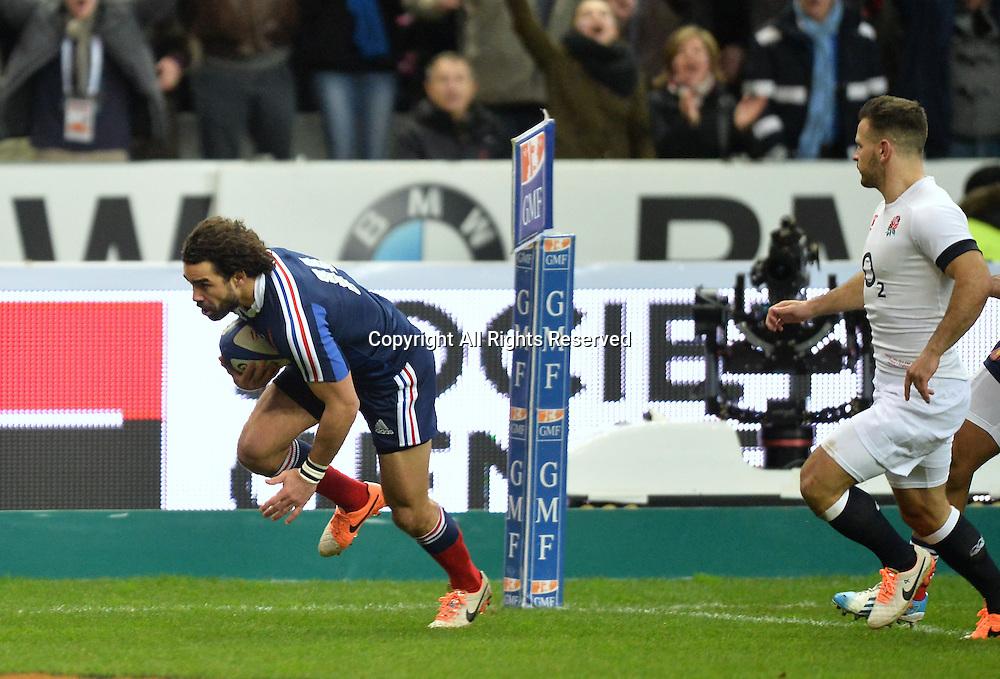 01.02.2014. Stade de France, Paris, France. 6 Nations International Rugby Union. France versus England.  1st try scored by Yoann Huget (fra)