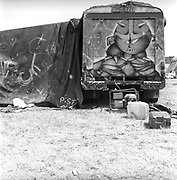 Graffiti on truck, at Glastonbury, 1989.
