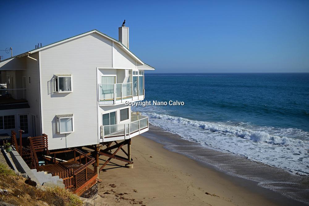 Beach front homes along Pacific Coast Highway in Malibu, California