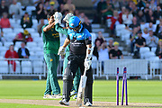 Ish Sodhi celebrates the wicket of Daryl Mitchell during the Natwest T20 Blast North Group match between Nottinghamshire County Cricket Club and Worcestershire County Cricket Club at Trent Bridge, West Bridgford, United Kingdom on 26 July 2017. Photo by Simon Trafford.