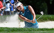 Jul 11, 2015; Lancaster, PA, USA; Lexi Thompson shoots from a bunker on the eighth green during the third round of the 2015 U.S. Women's Open at Lancaster Country Club.