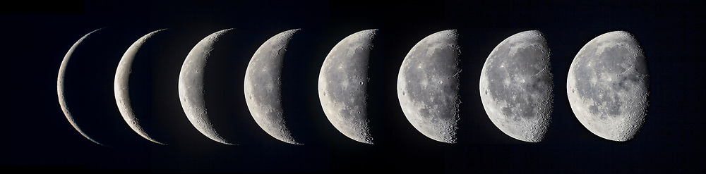 A composite of images of the waning Moon in the dawn sky of July 2017, with a series of close-ups taken with the 130mm refractor and Canon 60Da camera, and most with the 2X Barlow lens to further magnify the image. <br /> <br /> The sequence progresses from a 19-day-old moon (at far right) to a 26-day-old Moon (at far left). <br /> <br /> In this set, the sequence progresses in time from right to left, reflecting the Moon&rsquo;s motion from west to east (right to left) across the sky from night to night due to its orbital motion around Earth. Each morning, the Moon appears farther to the left, or east, as seen from the northern hemisphere.