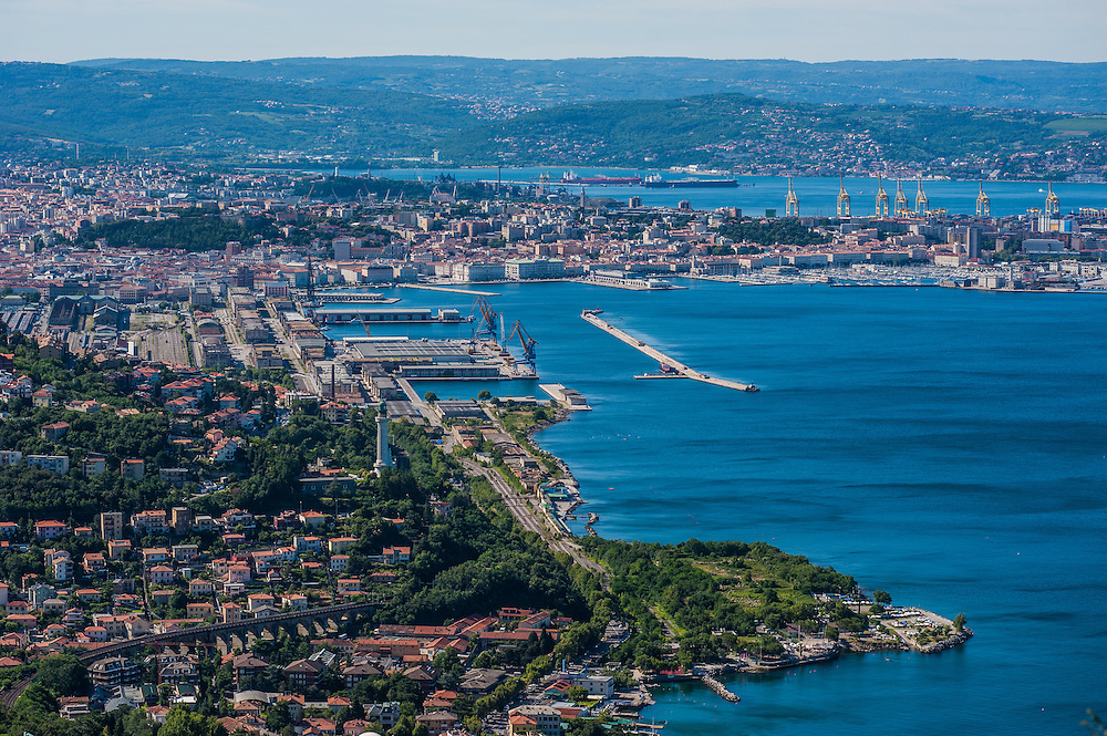 An aerial view of the city, the old port and the Gulf of Trieste in Italy