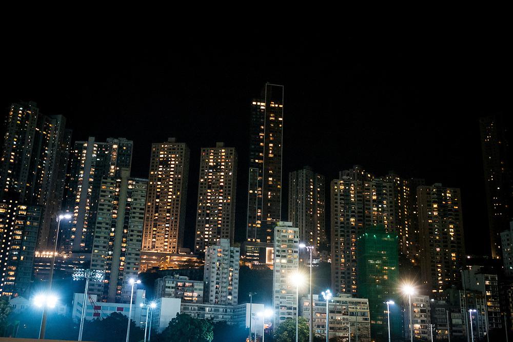 Hong Kong, China - Buildings in the Happy Valley area of Hong Kong on May 02, 2018 in Hong Kong, China. The independent territory, the world's tenth largest trading power and third largest financial centre, is experiencing major overpopulation problems.Hong Kong, Chine - Bâtiments dans la région de Happy Valley de Hong Kong le 2 mai 2018 à Hong Kong, Chine. Le territoire indépendant, dixième puissance commerciale mondiale et troisième place financière mondiale, connaît d'importants problèmes de surpopulation.