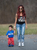 "EAST HANOVER, NJ - APRIL 03:  (EXCLUSIVE COVERAGE, SPECIAL RATES APPLY) Nicole ""Snooki"" Polizzi, pictured with her son Lorenzo LaValle on April 3, 2014 in New Jersey, is expecting her second child.  (Photo by Dave Kotinsky/NEP/Getty Images)"