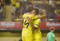Players of Villarreal celebrates the goal of Giovani Dos Santos, in Uefa Europa League, 3 day. (Photo: Alter Photos / Bouza Press / Maria Jose Segovia)