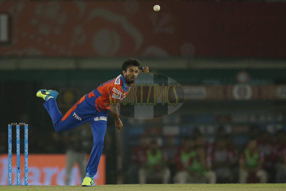Sarbjeet Ladda of Gujarat Lions sends down a delivery during match 3 of the Vivo Indian Premier League (IPL) 2016 between the Kings XI Punjab and the Gujarat Lions held at the IS Bindra Stadium, Mohali, India on the 11th April 2016<br /> <br /> Photo by Shaun Roy/ IPL/ SPORTZPICS