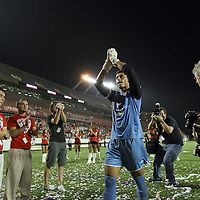 Lion Goalkeeper Miguel Gallardo celebrates with fans after the United Soccer League Pro American Division Championship soccer match between the Richmond Kickers and the Orlando City Lions at the Florida Citrus Bowl on August 27, 2011 in Orlando, Florida. Orlando won the match 3-0 to advance to the USL Pro Final.  (AP Photo/Alex Menendez)