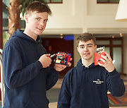 01/05/2015  Paulius Delys and Conor Keating Colaiste Chiarain Leixlip with their robots at the Irish Robotics Championship where over 450 second level students competed for the coveted trophy supported by  EA Games. Photo:Andrew Downes: XPOSURE