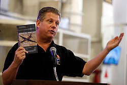 Francis Gary Powers, Jr. speaks at the USS Hornet Museum, Alameda, California, United States of America