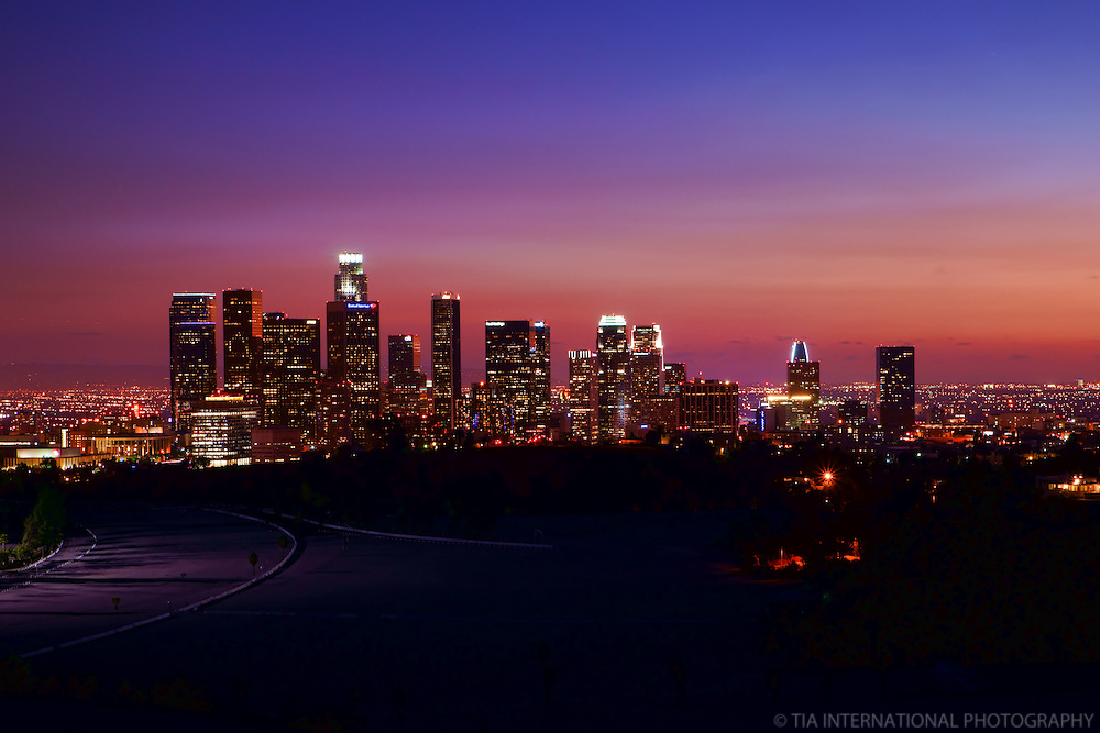 Skyline from Elysian Park at Sunset (2)
