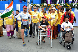 December 16, 2018 - Kolkata, West Bengal, India - People with disable participate during Tata Steel Kolkata 25K 2018. (Credit Image: © Saikat Paul/Pacific Press via ZUMA Wire)