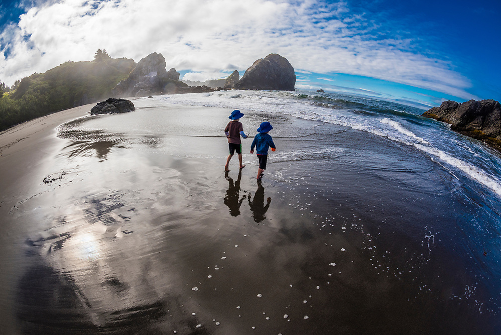 4 and 6 year old brothers playing in the surf at Harris Beach State Park, Brookings, Oregon USA.